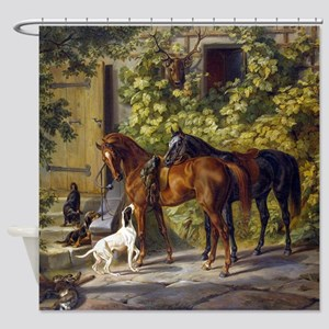 Adam Albrecht Horses at the Porch Shower Curtain