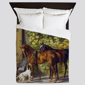 Adam Albrecht Horses at the Porch Queen Duvet