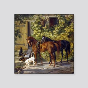 Adam Albrecht Horses at the Porch Square Sticker 3