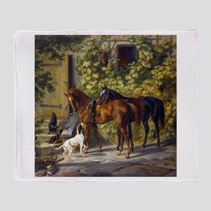 Adam Albrecht Horses at the Porch Throw Blanket