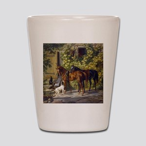 Adam Albrecht Horses at the Porch Shot Glass