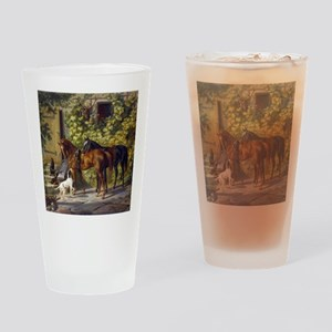 Adam Albrecht Horses at the Porch Drinking Glass