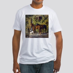 Adam Albrecht Horses at the Porch Fitted T-Shirt