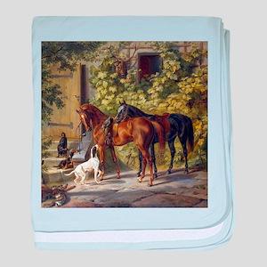 Adam Albrecht Horses at the Porch baby blanket