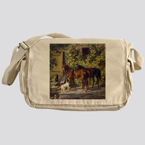 Adam Albrecht Horses at the Porch Messenger Bag
