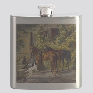 Adam Albrecht Horses at the Porch Flask