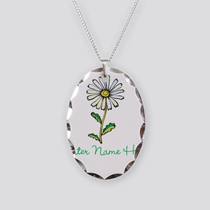 Personalized Daisy Necklace Oval Charm