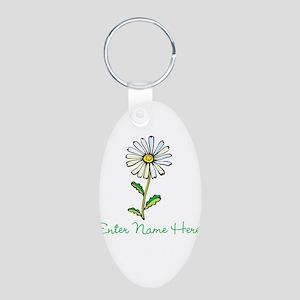 Personalized Daisy Aluminum Oval Keychain