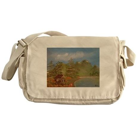 Cabin in the mountains Messenger Bag