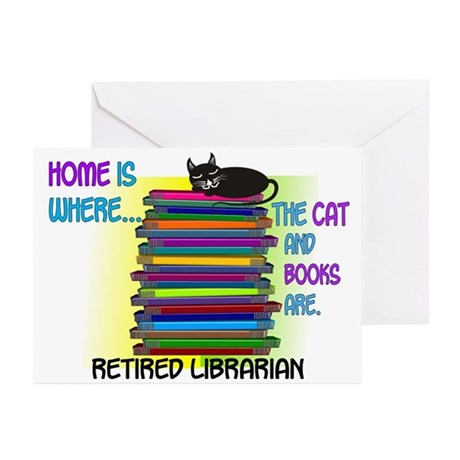 Retired Librarian Home is where Cat books Gree