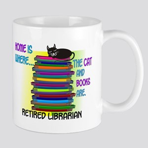 Retired Librarian Home is where Cat books Mug