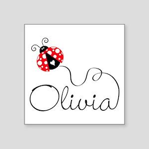 "Ladybug Olivia Square Sticker 3"" x 3"""