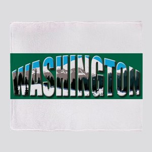 Washington green logo Rainier Throw Blanket