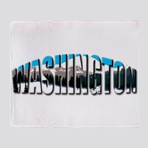 Washington logo clear Rainier Throw Blanket