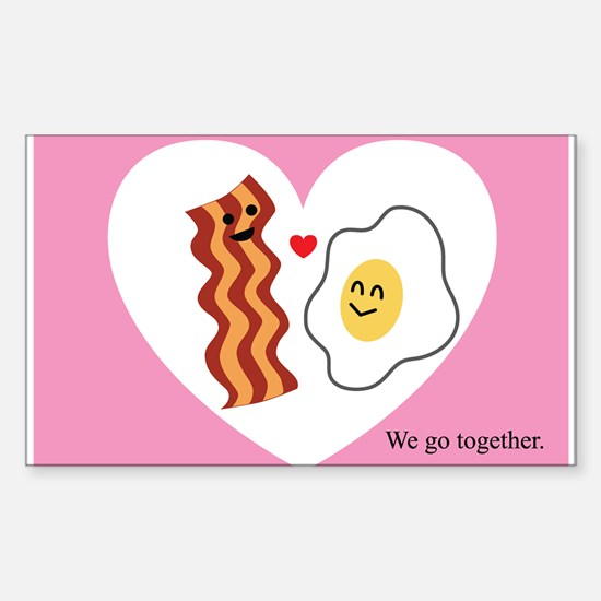 Pink Heart Valentine Bacon & Eggs in Love Decal