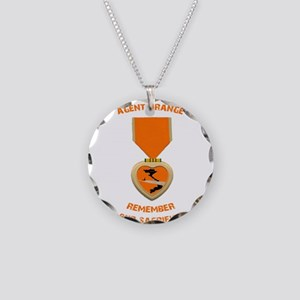 Agent Orange Necklace Circle Charm