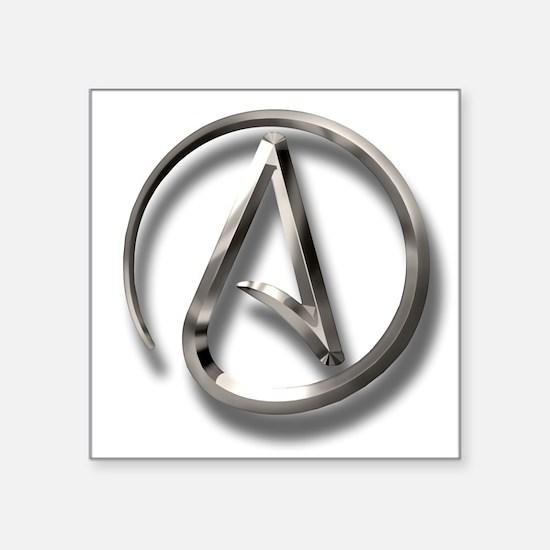 "International Atheism Symbol Square Sticker 3"" x 3"