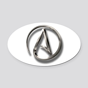 International Atheism Symbol Oval Car Magnet