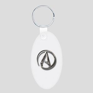 International Atheism Symbol Aluminum Oval Keychai