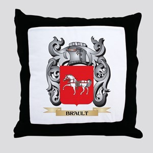 Brault Family Crest - Brault Coat of Throw Pillow