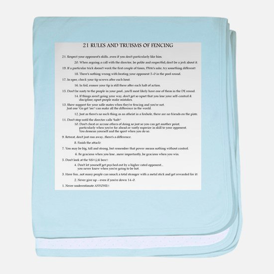 21 Rules & Truisms of Fencing baby blanket