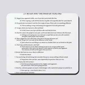 21 Rules & Truisms of Fencing Mousepad
