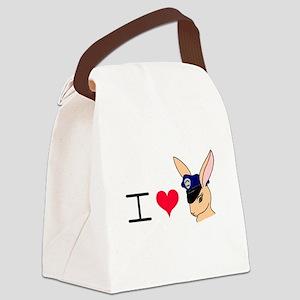 I Love Badge Bunnies Canvas Lunch Bag