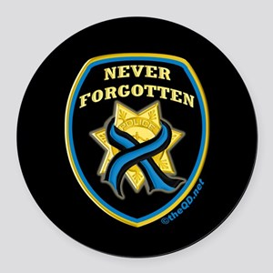 Thin Blue Line NeverForgotten Round Car Magnet