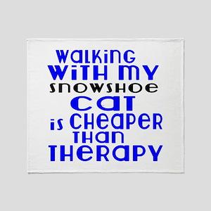 Walking With My snowshoe Cat Throw Blanket