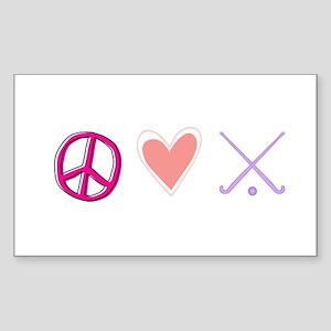 peace love hockey Sticker (Rectangle)