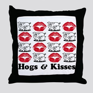 Hogs & Kisses Throw Pillow