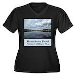 Ramshorn Pond Women's Plus Size V-Neck Dark T-Shir