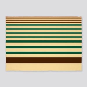 Striped design brown green begie 5'x7'Area Rug