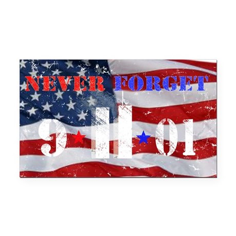 Never Forget 9-11-01 Rectangle Car Magnet