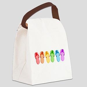 flip-flops-rainbow_tr Canvas Lunch Bag