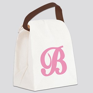 B-pink-initial_tr Canvas Lunch Bag