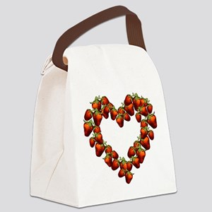 strawberry-heart Canvas Lunch Bag