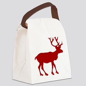 reindeer_red Canvas Lunch Bag