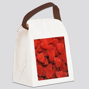 Red Gumdrop Hearts Canvas Lunch Bag