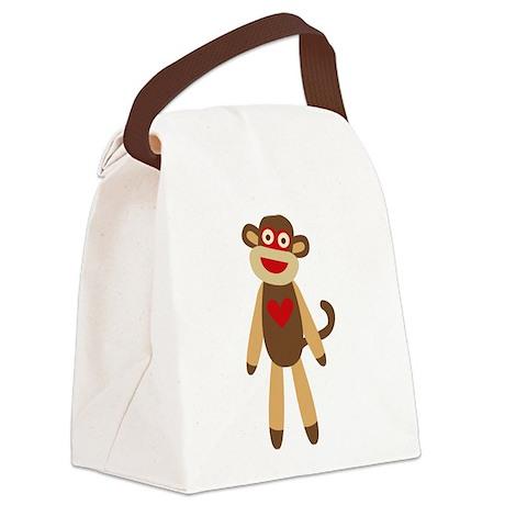 Cute Sock Monkey Canvas Lunch Bag