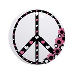 Peace Sign with Hearts and Flowers Ornament (Round