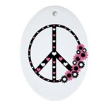 Peace Sign with Hearts and Flowers Ornament (Oval)
