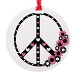 Peace Sign with Hearts and Flowers Round Ornament