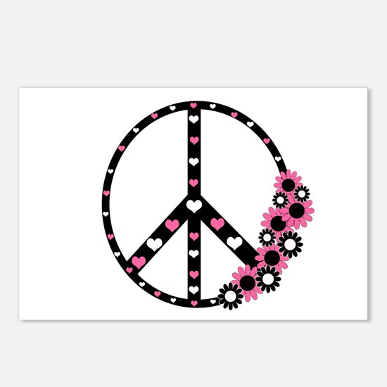 Peace Sign with Hearts and Flowers Postcards (Pack