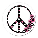 Peace Sign with Hearts and Flowers Round Car Magne