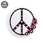"Peace Sign with Hearts and Flowers 3.5"" Butto"