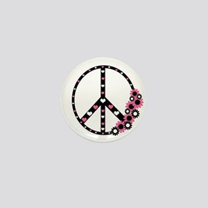 Peace Sign with Hearts and Flowers Mini Button
