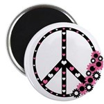 "Peace Sign with Hearts and Flowers 2.25"" Magn"