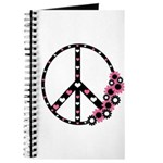 Peace Sign with Hearts and Flowers Journal