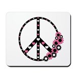 Peace Sign with Hearts and Flowers Mousepad